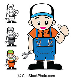 Mechanic Vector Cartoon, Illustration EPS10