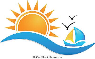 Ship sun and sea icon logo - Sunset beach vector icon...