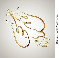 Dove peace symbol - Logo gold peace dove with olive leafs...
