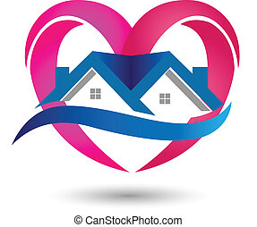 Real Estate icon House of love logo - Real Estate icon House...