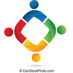 Team people application logo - Vector people application...