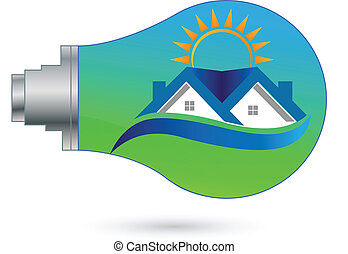 Light bulb House and blue sky eco concept logo background