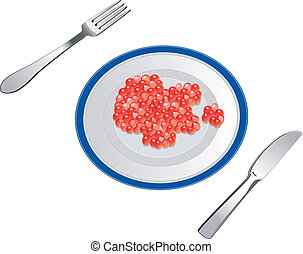 Red caviar on plate