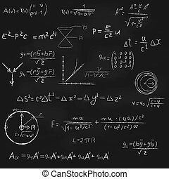 Square Blackboard With Equations - Background with...