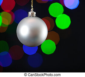 Christmas Ornament - Close up of a white Christmas ornament,...