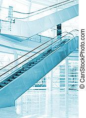 Exhibition Escalators in a Blue Tone Color