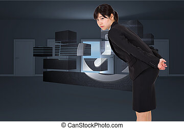 Composite image of serious businesswoman bending - Serious...