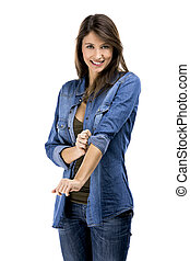 Ready for work - Beautiful woman rolling up her sleeves,...