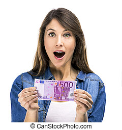 Woman holding some Euro currency notes - Beauitful woman...