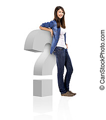 Beautiful woman standing over a interrogation symbol, isolated over a white background