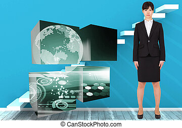 Composite image of serious businesswoman - Serious...