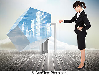 Composite image of focused business - Focused businesswoman...