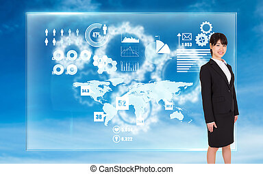 Composite image of smiling businesswoman - Smiling...