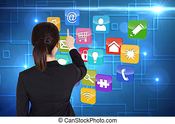 Composite image of businesswoman pointing - Businesswoman...