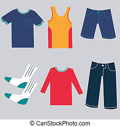 Flat Clothing Icons - An image of a flat clothing icons