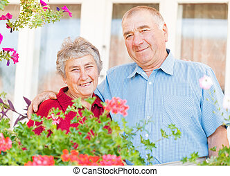 Happy elderly couple - The portrait of a happy elderly...
