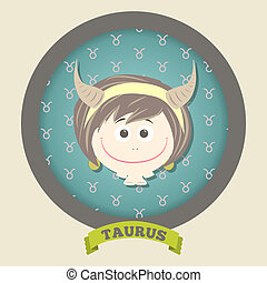 Zodiac signs collection. Cute horoscope - TAURUS.