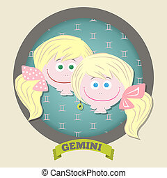 Zodiac signs collection Cute horoscope - GEMINI Vector...