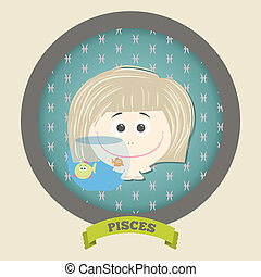 Zodiac signs collection.Cute horoscope - PISCES. Vector...