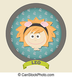Zodiac signs collection. Cute horoscope - LEO. Vector...