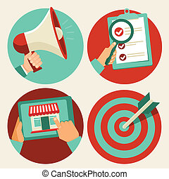 Flat business icons - advertising and marketing - Vector...