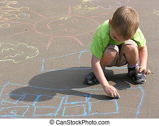 criança, desenho, asfalto