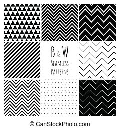 Seamless Black and White geometric background set - Seamless...