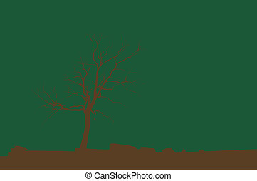 Dead Tree - Ilustrated of brown dead tree on green...