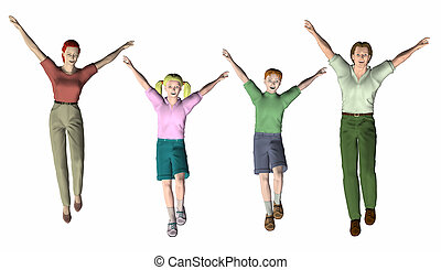 family of four jumping