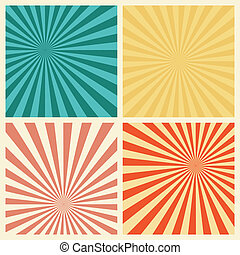 Sunburst Retro Textured Grunge Background Set Vintage Rays