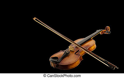 Fiddle and Bow - A Still life with a leaning fiddle with a...