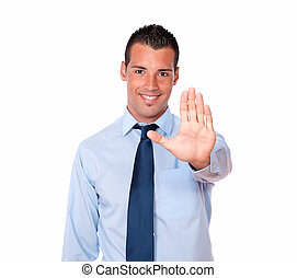 Handsome hispanic businessman with high gesture
