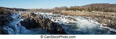 Great Falls on Potomac outside Washington DC - Panorama of...