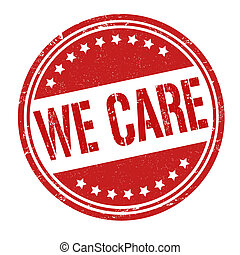 We care stamp - We care grunge rubber stamp on white, vector...