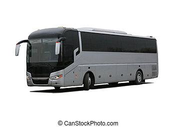 bus on white background - big tourist bus on white...