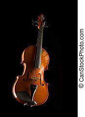 violin and bow isolated on black