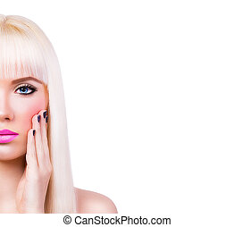 Pretty blonde girl with manicure - Beautiful blonde girl...