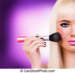Beautiful girl with perfect make up - Beautiful blonde girl...