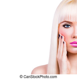 Beautiful blonde girl with pink lips on white background