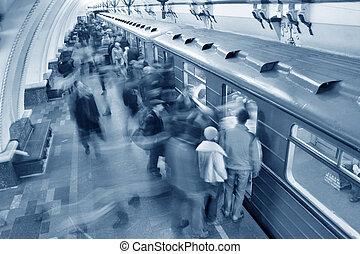 blue subway crowd