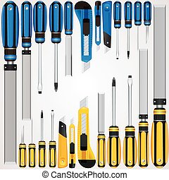 Vector Hand Tools Screwdrivers, Cutters, Files etc - Vector...