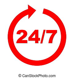 Always open - Red 24 upon 7 into circle arrow in white...