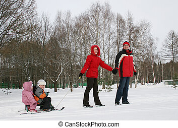family with sled