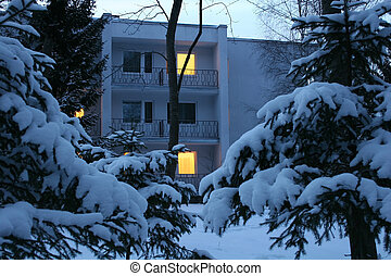 evening winter house