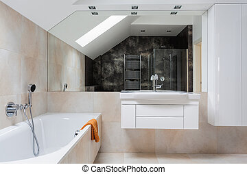 Bright design bathroom furniture and huge mirror