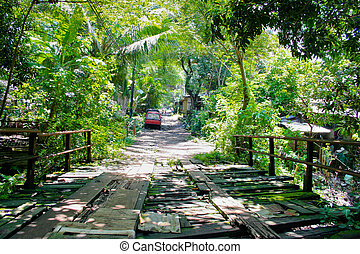 Rickety bridge - An old bridge in a Philippine village.