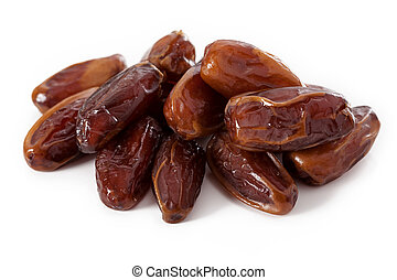 Sweet dates - A pile of sweet dates isolated on white...