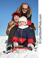 Inverno, família, Trenó, 2