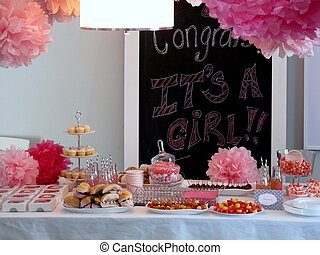 Baby girl shower table - Pompoms, sandwiches,...