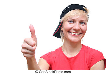 woman with ok finger